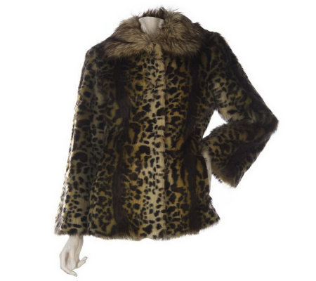 LOGO by Lori Goldstein Leopard Print Faux Fur Coat
