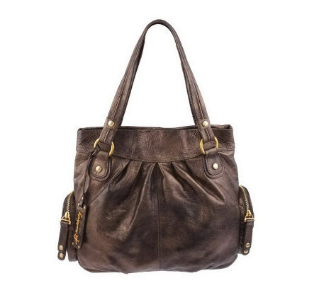"""As Is"" B. Makowsky Leather Snap Top Shopper"