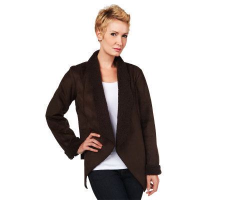 Denim & Co. Faux Suede Cascade Front Jacket w/Sherpa Lining