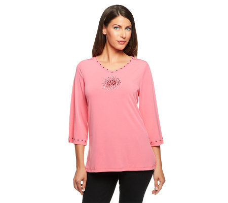 Quacker Factory Flower Medallion 3/4 Sleeve Knit Top