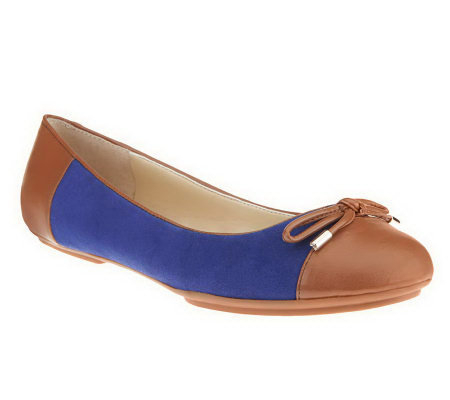 Isaac Mizrahi Live! Suede Ballet Flats with Bow