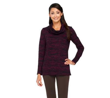 Linea by Louis Dell'Olio Cowl Neck Marled Knit Top