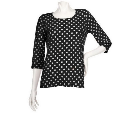"""As Is"" Susan Graver Liquid Knit U-neck Top w/ Dot Print & 3/4 Sleeve"