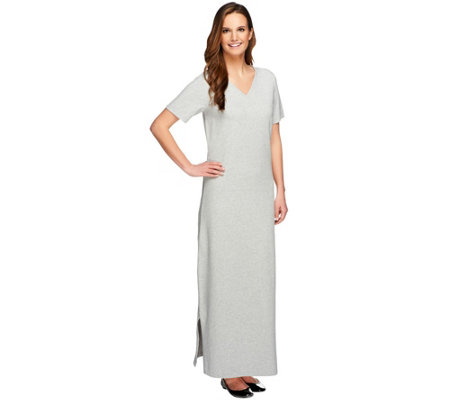 denim & co. essentials petite short sleeve maxi dress - page 1
