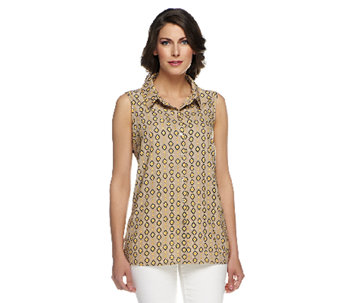 Susan Graver Printed Button Front Sleeveless Blouse - A253039