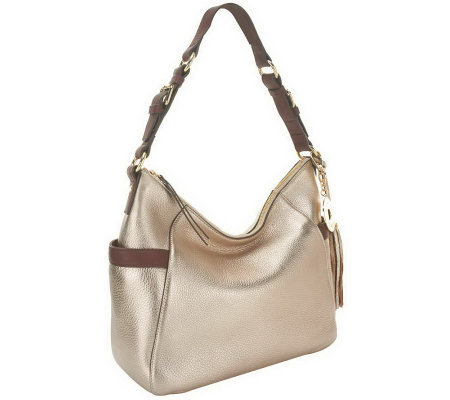 """As Is"" Isaac Mizrahi Live! Bridgehampton Leather Zip Top Hobo"