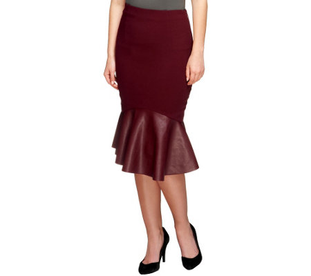 G.I.L.I. Woven Skirt with Faux Leather Flared Hem
