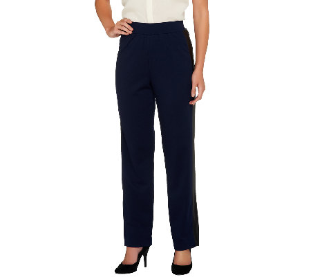 George Simonton Petite Ponte Pull-On Pants w/ Faux Leather Tuxedo Stripe