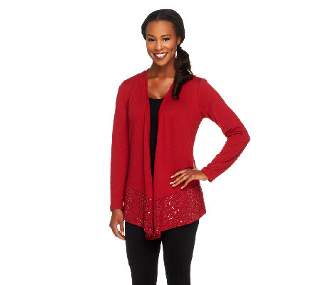 Joan Rivers Long Sleeve Waterfall Knit Cardigan with Sequin Border