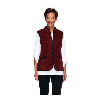 Susan Graver Melange Fleece Zip Front Vest w/ Solid Trim