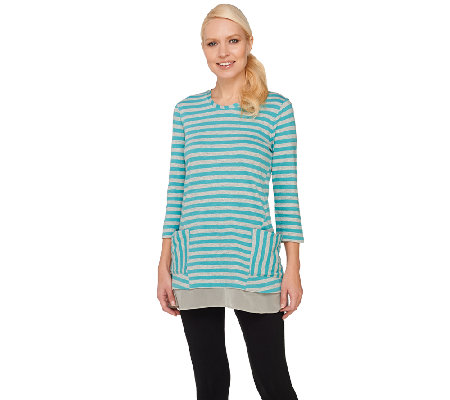 LOGO by Lori Goldstein Striped Slub Knit Top with Chiffon Hem