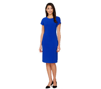 Joan Rivers Petite Luxe Knit Sheath Dress w/ Cap Sleeves - A262139