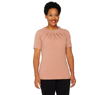 George Simonton Pebble Crepe Top with Front Pleat Detail - A262239