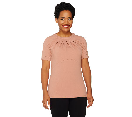 George Simonton Pebble Crepe Top with Front Pleat Detail