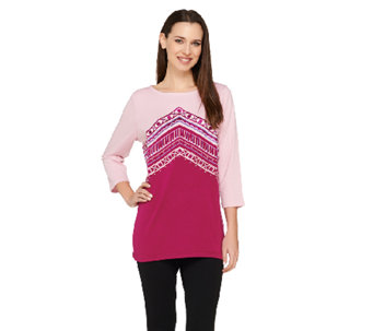 Bob Mackie's Embroidered 3/4 Sleeve Pullover Top - A263339