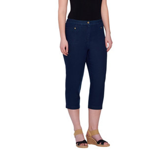 Linea by Louis Dell'Olio Button Front Capri Pants w/ Side Pockets - A265539