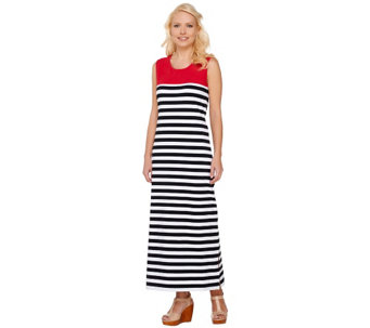 Denim & Co. Striped Sleeveless Maxi Dress with Color-Block - A265639