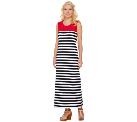 Denim & Co. Striped Sleeveless Maxi Dress with Color-Block