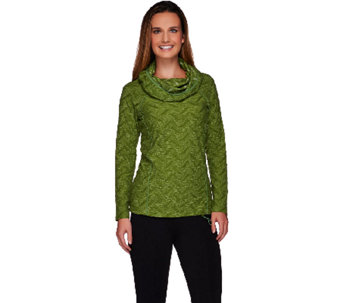 LOGO Lotus by Lori Goldstein Cowl Neck Jacquard Top with Solid Trim - A266539