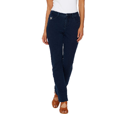 Quacker Factory DreamJeannes Reg. Straight Leg Pants with Jeweled Pockets