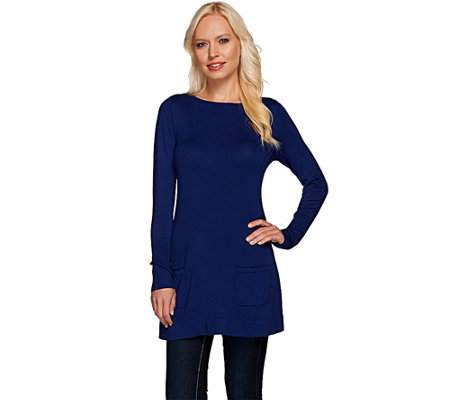 Susan Graver Rayon Nylon A-Line Tunic Sweater with Pockets