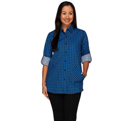 Joan Rivers Houndstooth Boyfriend Shirt w/ Long Sleeves