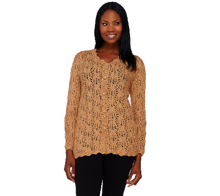 Joan Rivers Crochet Cardigan with Long Sleeves
