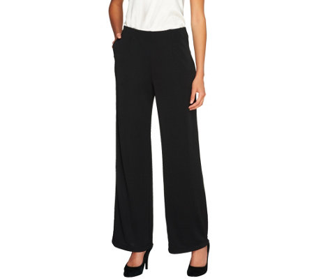 """As Is"" Susan Graver Premier Knit Wide Leg Pants - Petite"