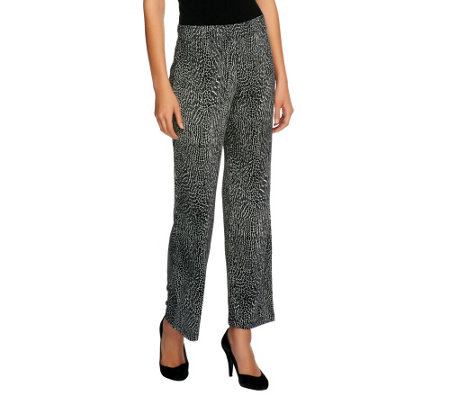 """As Is"" Susan Graver Heavy Liquid Knit Printed Pull-On Ankle Pants"