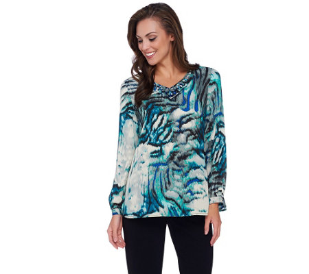 Susan Graver Artisan Printed Feather Weave V-neck Top w/ Embellishment