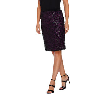Bob Mackie's Pull-On Pencil Skirt with Sequin Overlay - A269539