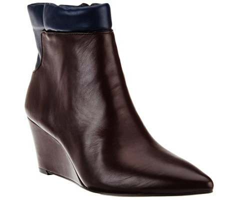 H by Halston Two-tone Leather Wedge Ankle Boots - Kimberly
