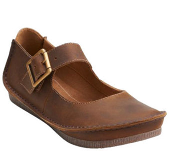 Clarks Artisan Leather Mary Janes with Adj. Strap - Janey June - A270139