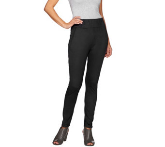 LOGO by Lori Goldstein Faux Suede Pants with Seam Detail - A271139