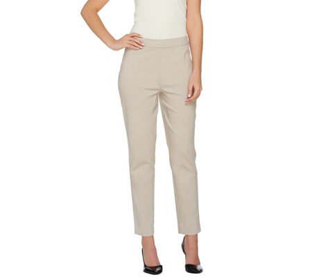 Susan Graver Uptown Stretch Comfort Waist Pull-On Ankle Pants