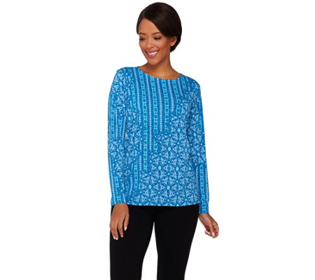 Bob Mackie's Long Sleeve Patchwork Printed Knit Top