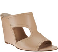 H by Halston Open-Toe Cut-Out Leather Mules - Holly