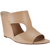 H by Halston Open-Toe Cut-Out Leather Mules - Holly - A273939