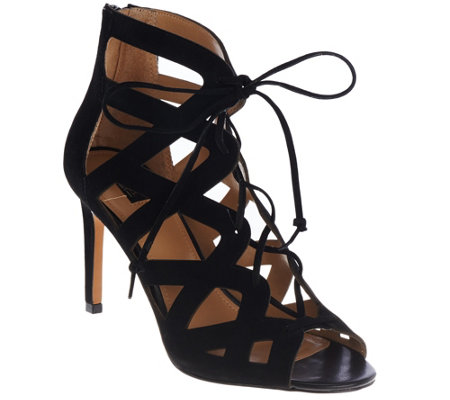 G.I.L.I Suede Lace-up Cut-out Heel Sandals - Colvynn