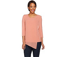 H by Halston Knit Top with Asymmetric Chiffon Overlay - A274539