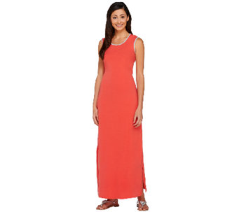"""As Is"" Denim & Co. Jersey Sleeveless Maxi Dress w/ Cutout Detail - A274739"