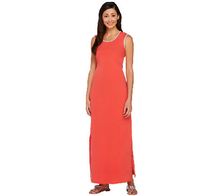"""As Is"" Denim & Co. Jersey Sleeveless Maxi Dress w/ Cutout Detail"