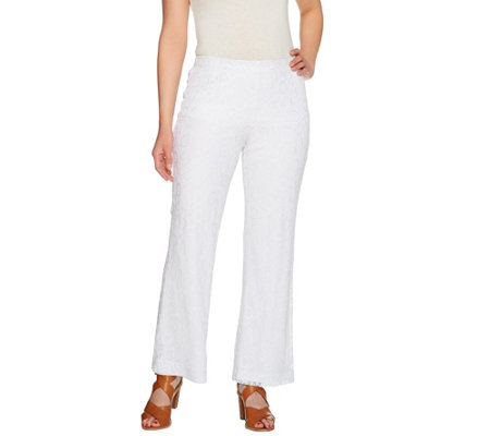 Susan Graver Lace Comfort Waist Lined Pull-On Pants