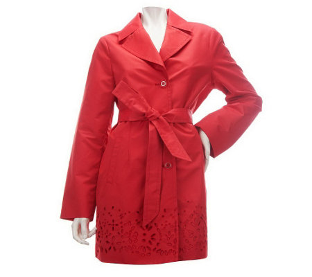 """As Is"" Dennis Basso Notch Collar Belted Swing Jacket w/ Eyelet Detail"