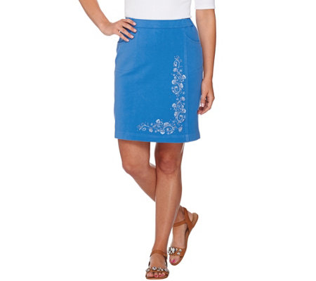 Quacker Factory DreamJeannes Floral Embroidered Skort