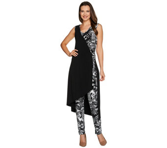 Attitudes by Renee Petite Printed Faux Wrap Knit Jumpsuit - A277539
