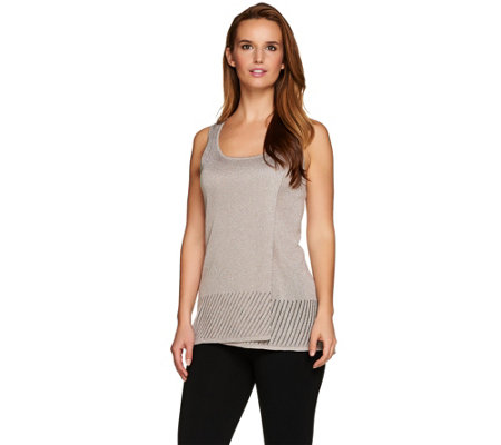 H by Halston Metallic Tank with Pointelle Detail