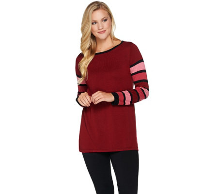 Bob Mackie's Striped Sleeve Knit Pullover Top