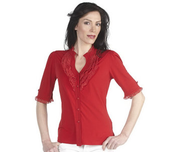"""As Is"" George Simonton Milky Knit Button Front Top with Ruffle Detail - A280739"