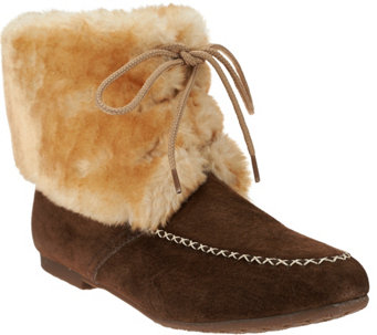 """As Is"" Lamo Water Resistant Suede Lace-up Booties w/ Faux Fur - Wolcott - A281039"